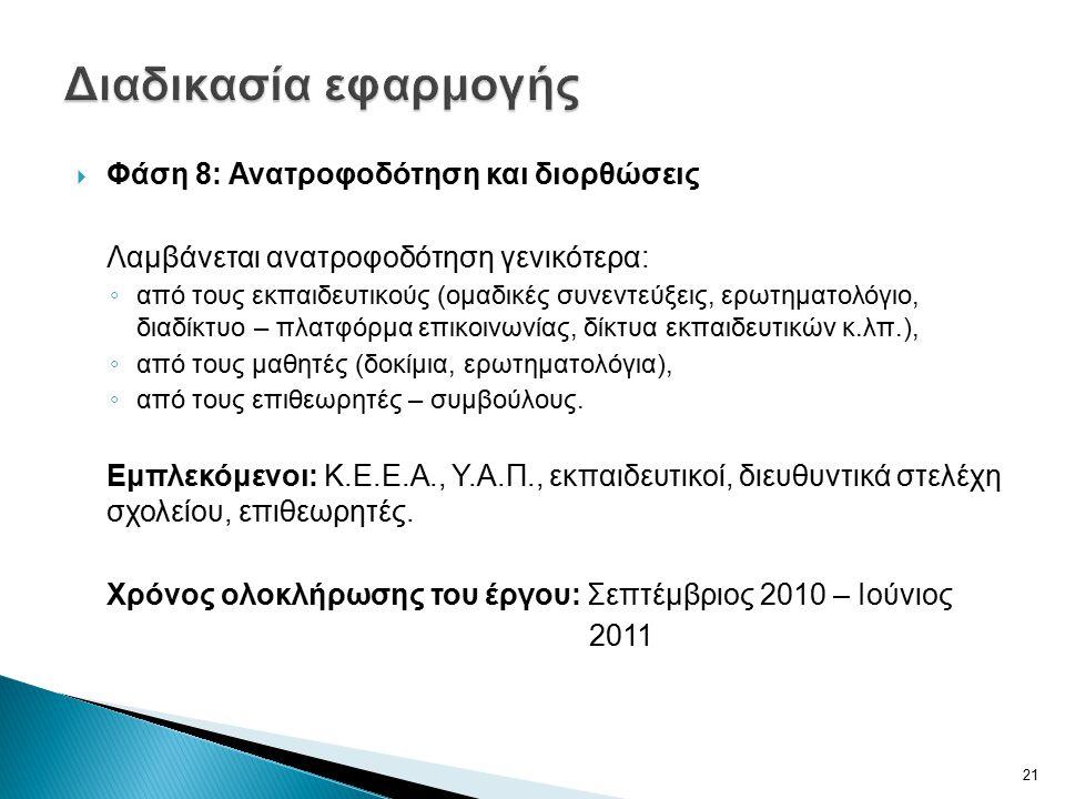  Φάση 8: Ανατροφοδότηση και διορθώσεις Λαμβάνεται ανατροφοδότηση γενικότερα: ◦ από τους εκπαιδευτικούς (ομαδικές συνεντεύξεις, ερωτηματολόγιο, διαδίκτυο – πλατφόρμα επικοινωνίας, δίκτυα εκπαιδευτικών κ.λπ.), ◦ από τους μαθητές (δοκίμια, ερωτηματολόγια), ◦ από τους επιθεωρητές – συμβούλους.