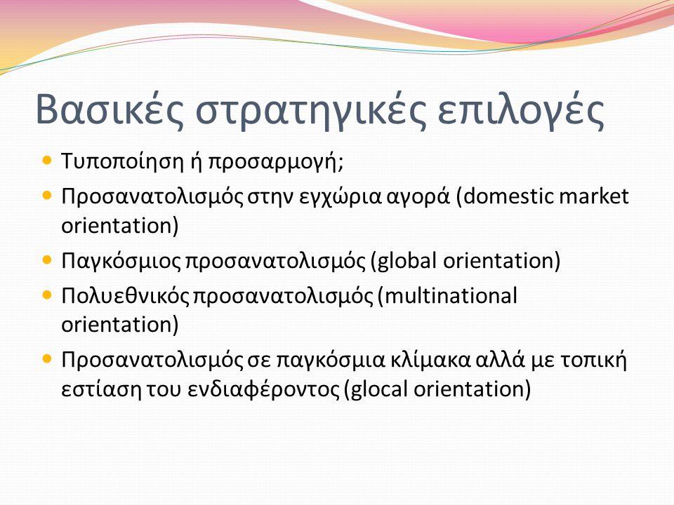 Βασικές στρατηγικές επιλογές Τυποποίηση ή προσαρμογή; Προσανατολισμός στην εγχώρια αγορά (domestic market orientation) Παγκόσμιος προσανατολισμός (global orientation) Πολυεθνικός προσανατολισμός (multinational orientation) Προσανατολισμός σε παγκόσμια κλίμακα αλλά με τοπική εστίαση του ενδιαφέροντος (glocal orientation)