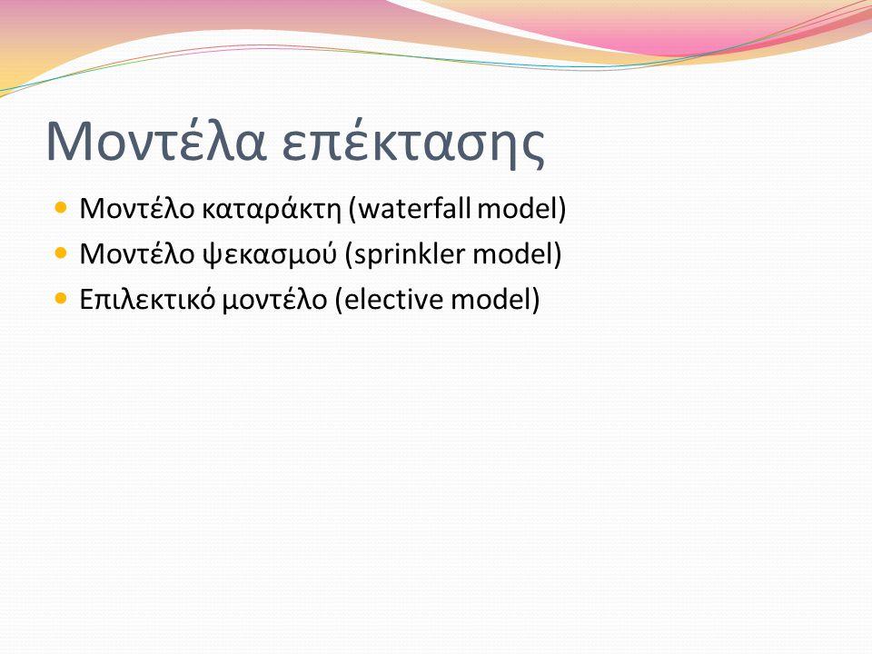 Μοντέλα επέκτασης Μοντέλο καταράκτη (waterfall model) Μοντέλο ψεκασμού (sprinkler model) Επιλεκτικό μοντέλο (elective model)