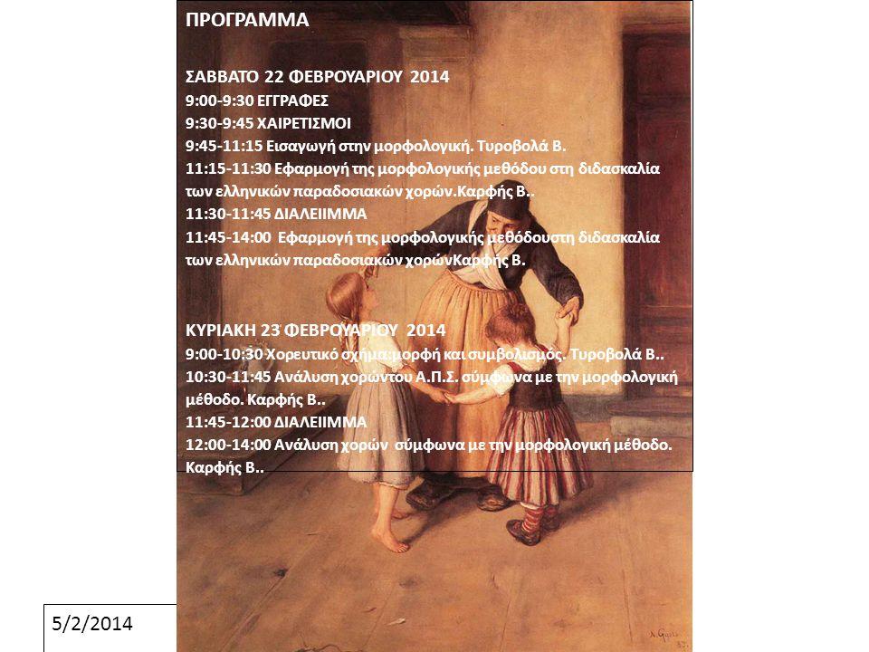 5/2/2014 ΠΡΟΓΡΑΜΜΑ ΣΑΒΒΑΤΟ 22 ΦΕΒΡΟΥΑΡΙΟΥ 2014 9:00-9:30 ΕΓΓΡΑΦΕΣ 9:30-9:45 ΧΑΙΡΕΤΙΣΜΟΙ 9:45-11:15 Εισαγωγή στην μορφολογική. Τυροβολά Β. 11:15-11:30
