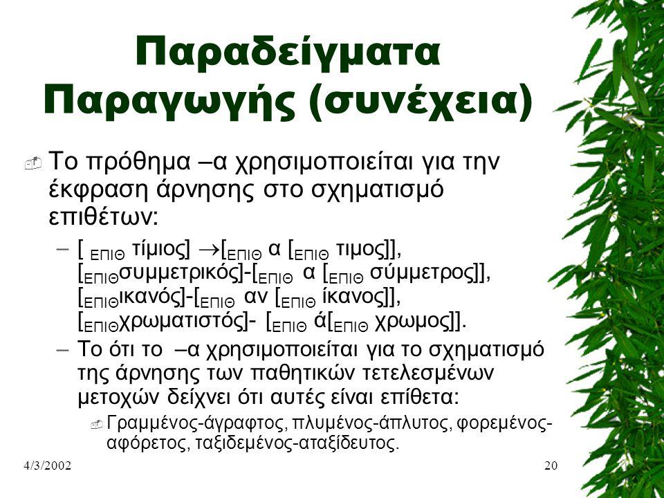 4/3/200220 Παραδείγματα Παραγωγής (συνέχεια)  Το πρόθημα –α χρησιμοποιείται για την έκφραση άρνησης στο σχηματισμό επιθέτων: –[ ΕΠΙΘ τίμιος]  [ ΕΠΙΘ