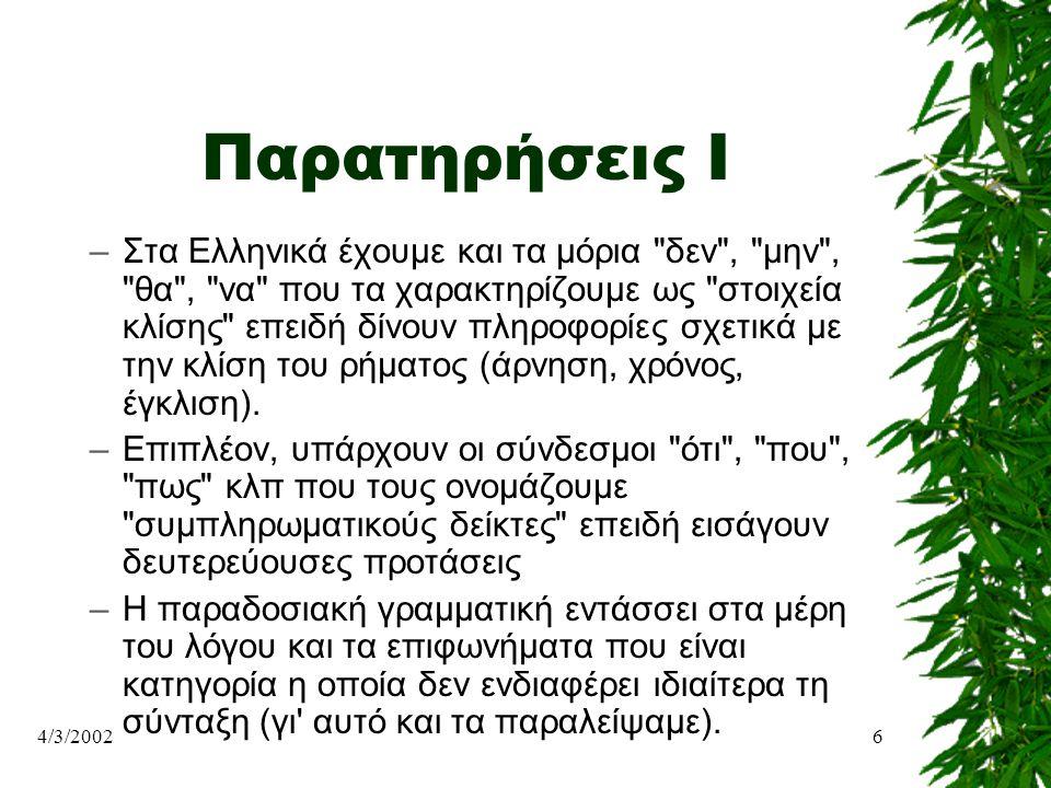 4/3/20026 Παρατηρήσεις Ι –Στα Ελληνικά έχουμε και τα μόρια