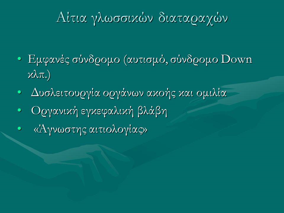 Αίτια γλωσσικών διαταραχών Εμφανές σύνδρομο (αυτισμό, σύνδρομο Down κλπ.)Εμφανές σύνδρομο (αυτισμό, σύνδρομο Down κλπ.) Δυσλειτουργία οργάνων ακοής κα