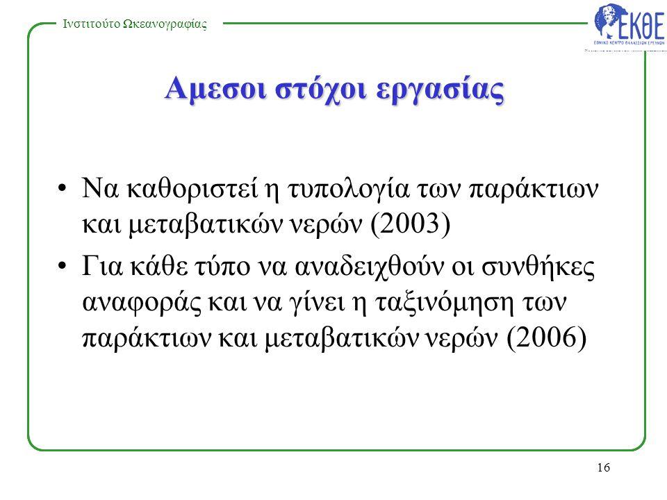 NATIONAL CENTRE FOR MARINE RESEARCH Ινστιτούτο Ωκεανογραφίας 15 Η εφαρμογή της Οδηγίας για τα παράκτια και μεταβατικά νερά στην Ελλάδα Πρέπει να υπάρξει: –Σχέδιο/Πλαίσιο Δράσης Εθνικού Προγράμματος.