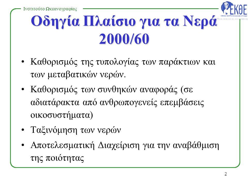 NATIONAL CENTRE FOR MARINE RESEARCH Ινστιτούτο Ωκεανογραφίας 1 Οδηγία Πλαίσιο για τα Νερά 2000/60.
