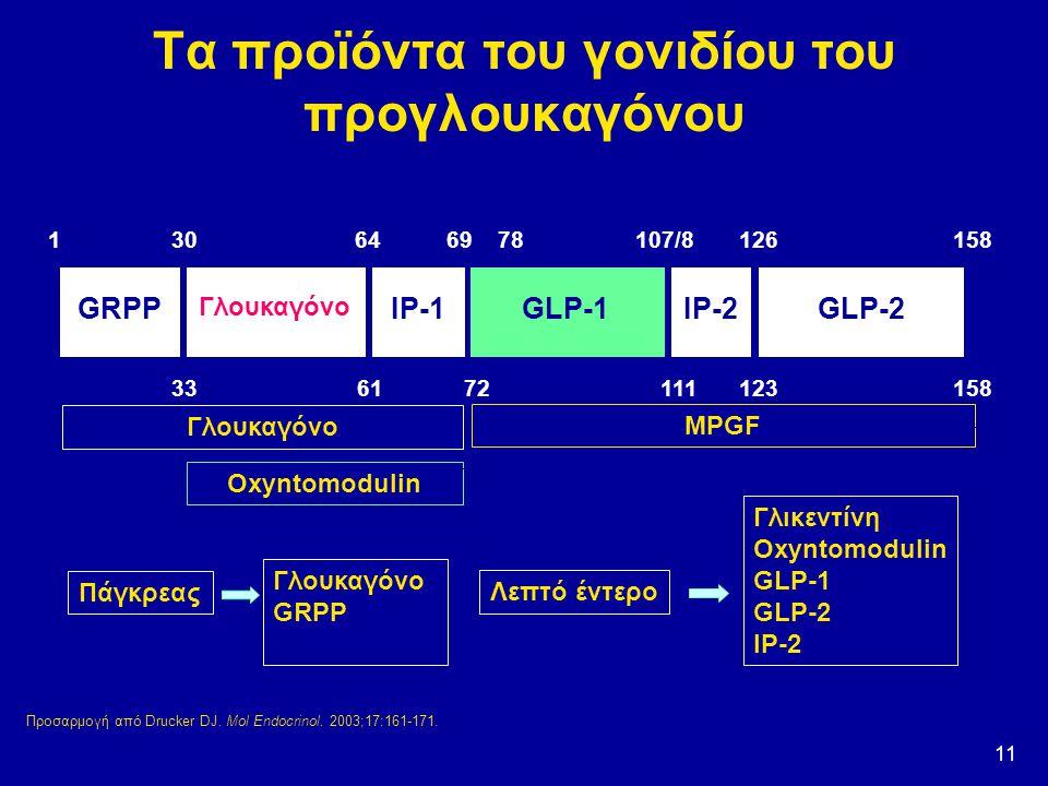 11 Τα προϊόντα του γονιδίου του προγλουκαγόνου Πάγκρεας Λεπτό έντερο Γλουκαγόνο GRPPGRPP Γλικεντίνη Oxyntomodulin GLP-1 GLP-2 IP-2 GRPP Γλουκαγόνο IP-