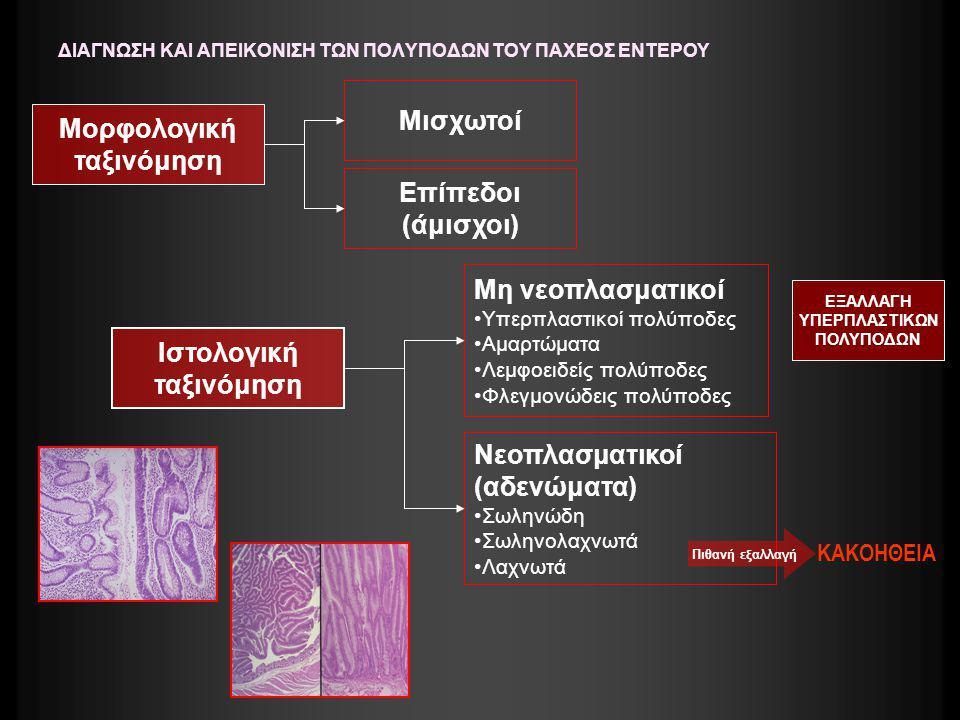 ΔΙΑΓΝΩΣΗ ΚΑΙ ΑΠΕΙΚΟΝΙΣΗ ΤΩΝ ΠΟΛΥΠΟΔΩΝ ΤΟΥ ΠΑΧΕΟΣ ΕΝΤΕΡΟΥ Οι περισσότεροι καρκίνοι του παχέος προέρχονται από νεοπλασματικούς αδενωματώδεις πολύποδες (αδενώματα)- Σε όλα τα αδενώματα υπάρχει κάποιος βαθμός δυσπλασίας Από αυτά το 70-85% ταξινομούνται ως σωληνώδη (0-25% λαχνωτός ιστός), το 10-25% ως σωληνολαχνωτά (25-75% λαχνωτός ιστός) και 5% είναι λαχνωτά αδενώματα (75-100% λαχνωτός ιστός) Τα μικρά σε μέγεθος σωληνώδη αδενώματα (<1 εκ.) είναι πολύ συχνά και σπανίως εξελίσσονται σε αδενοκαρκινώματα Τα όψιμα αδενώματα είναι εκείνα που έχουν μέγεθος >1εκ., εκείνα που περιέχουν σημαντική ποσότητα λαχνωτού ιστού, ή εμφανίζουν υψηλόβαθμη δυσπλασία Πιθανότητα εξαλλαγής ανάλογα με το μέγεθος: 2cm:40% Η προσπάθεια επομένως κατευθύνεται στην πρώϊμη ανακάλυψη και την αφαίρεση των οψίμων αυτών αδενωμάτων πριν εξελιχθούν σε καρκίνο