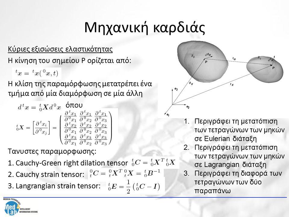Μηχανική καρδιάς Κύριες εξισώσεις ελαστικότητας Η κίνηση του σημείου P ορίζεται από: Η κλίση της παραμόρφωσης μετατρέπει ένα τμήμα από μία διαμόρφωση