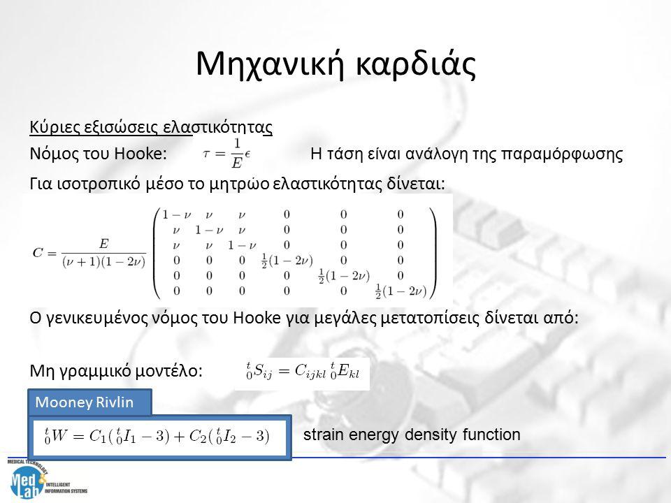 Μηχανική καρδιάς Κύριες εξισώσεις ελαστικότητας Νόμος του Hooke: Για ισοτροπικό μέσο το μητρώο ελαστικότητας δίνεται: Ο γενικευμένος νόμος του Hooke γ