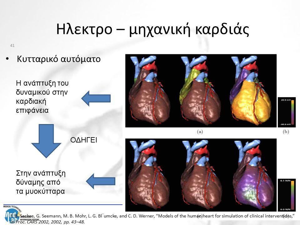 Ηλεκτρο – μηχανική καρδιάς Κυτταρικό αυτόματο Η ανάπτυξη του δυναμικού στην καρδιακή επιφάνεια ΟΔΗΓΕΙ Στην ανάπτυξη δύναμης από τα μυοκύτταρα 41 F. B.