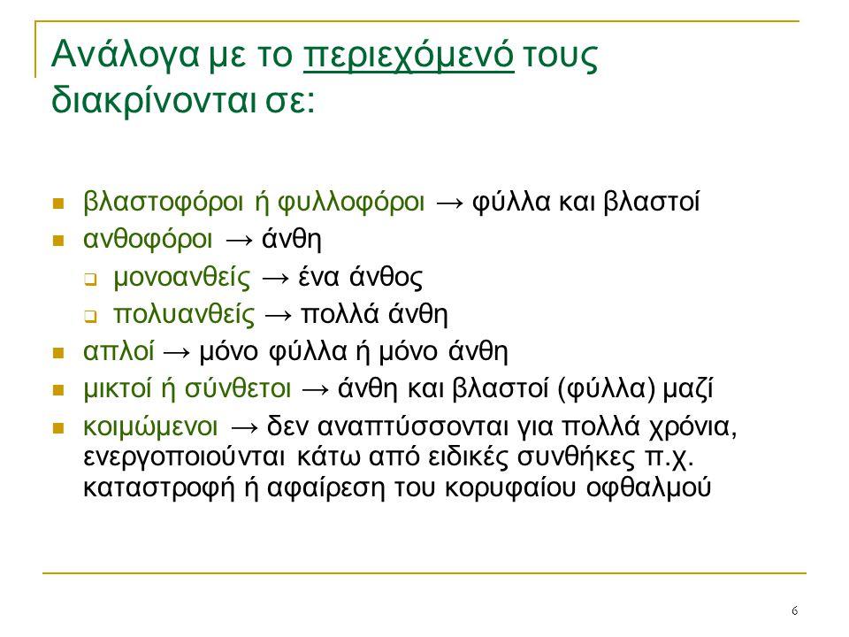 6 Ανάλογα με το περιεχόμενό τους διακρίνονται σε: βλαστοφόροι ή φυλλοφόροι → φύλλα και βλαστοί ανθοφόροι → άνθη  μονοανθείς → ένα άνθος  πολυανθείς