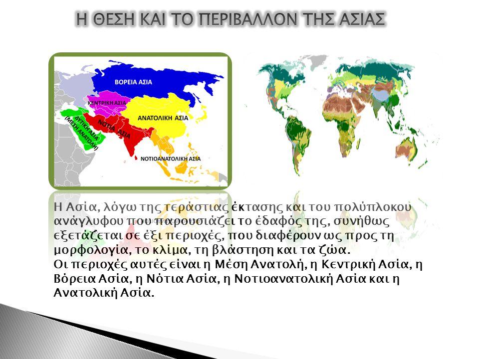 Η Ασία, λόγω της τεράστιας έκτασης και του πολύπλοκου ανάγλυφου που παρουσιάζει το έδαφός της, συνήθως εξετάζεται σε έξι περιοχές, που διαφέρουν ως πρ