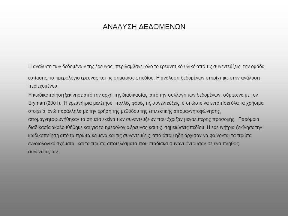 ΑΝΑΛΥΣΗ ΔΕΔΟΜΕΝΩΝ Η ανάλυση των δεδομένων της έρευνας, περιλαμβάνει όλο το ερευνητικό υλικό από τις συνεντεύξεις, την ομάδα εστίασης, το ημερολόγιο έρευνας και τις σημειώσεις πεδίου.