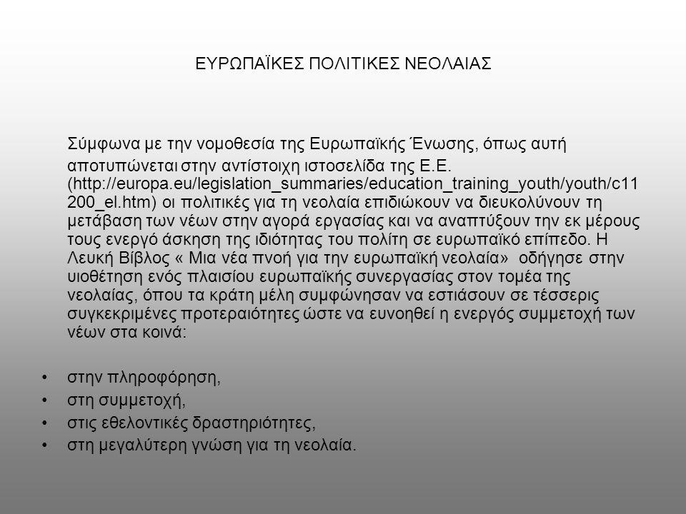 ΙΣΤΟΣΕΛΙΔΕΣ http://europa.eu/scadplus/leg/el/s02310.htm (ανακτήθηκε στις 30/3/2010)http://europa.eu/scadplus/leg/el/s02310.htm http://www.thefylis.uoa.gr/fylopedia/index.php/%CE%A6%CF%8D%CE%BB%CE%BF_%CE%BA%CE%B1%CE%B9_%CE%B5%CF%8 5%CF%81%CF%89%CF%80%CE%B1%CF%8A%CE%BA%CE%AD%CF%82_%CF%80%CE%BF%CE%BB%CE%B9%CF%84%CE% B9%CE%BA%CE%AD%CF%82#.CE.95.CE.BE.CE.AD.CE.BB.CE.B9.C (ανακτήθηκε στις 20/3/2010)http://www.thefylis.uoa.gr/fylopedia/index.php/%CE%A6%CF%8D%CE%BB%CE%BF_%CE%BA%CE%B1%CE%B9_%CE%B5%CF%8 5%CF%81%CF%89%CF%80%CE%B1%CF%8A%CE%BA%CE%AD%CF%82_%CF%80%CE%BF%CE%BB%CE%B9%CF%84%CE% B9%CE%BA%CE%AD%CF%82#.CE.95.CE.BE.CE.AD.CE.BB.CE.B9.C http://europa.eu/legislation_summaries/development/general_development_framework/r12533_el.htm (ανακτήθηκε στις 30/3/2010)http://europa.eu/legislation_summaries/development/general_development_framework/r12533_el.htm http://europa.eu/legislation_summaries/development/sectoral_development_policies/l14172_el.htm (ανακτήθηκε στις 30/3/2010)http://europa.eu/legislation_summaries/development/sectoral_development_policies/l14172_el.htm http://europa.eu/legislation_summaries/development/general_development_framework/l14171_el.htm (ανακτήθηκε στις 30/3/2010)http://europa.eu/legislation_summaries/development/general_development_framework/l14171_el.htm http://www.youth-partnership.net/youth-partnership/ekcyp/BGKNGE/Better_Understanding (ανακτήθηκε στις 24/3/2010)http://www.youth-partnership.net/youth-partnership/ekcyp/BGKNGE/Better_Understanding http://ec.europa.eu/youth/youth-policies/doc40_en.htm (ανακτήθηκε στις 30/3/2010)http://ec.europa.eu/youth/youth-policies/doc40_en.htm http://www.youth-partnership.net/youth-partnership/ekcyp/Information_2008 (ανακτήθηκε στις 24/3/2010)http://www.youth-partnership.net/youth-partnership/ekcyp/Information_2008 http://ec.europa.eu/youth/youth-policies/doc26_en.htm (ανακτήθηκε στις 30/3/2010)http://ec.europa.eu/youth/youth-policies/doc26_en.htm http://www.salto-youth.net/download/1830 (ανακτήθηκε στις 240/3/2010)
