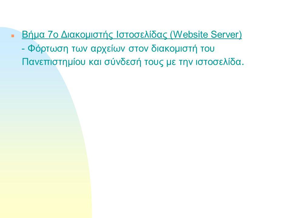 n Βήμα 7ο Διακομιστής Ιστοσελίδας (Website Server) - Φόρτωση των αρχείων στον διακομιστή του Πανεπιστημίου και σύνδεσή τους με την ιστοσελίδα.