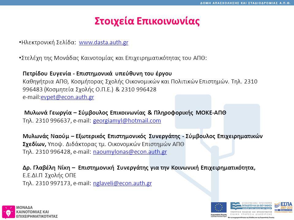 Στοιχεία Επικοινωνίας Ηλεκτρονική Σελίδα: www.dasta.auth.grwww.dasta.auth.gr Στελέχη της Μονάδας Καινοτομίας και Επιχειρηματικότητας του ΑΠΘ: Πετρίδου