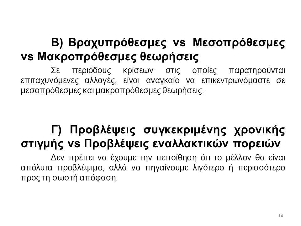 14 Β) Βραχυπρόθεσμες vs Μεσοπρόθεσμες vs Μακροπρόθεσμες θεωρήσεις Σε περιόδους κρίσεων στις οποίες παρατηρούνται επιταχυνόμενες αλλαγές, είναι αναγκαί