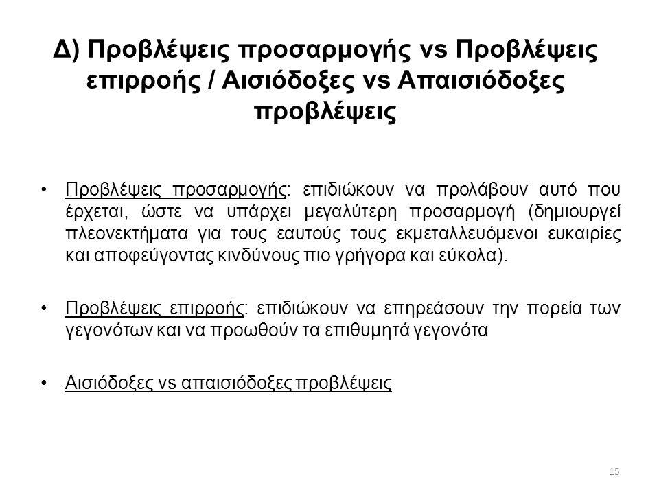 15 Δ) Προβλέψεις προσαρμογής vs Προβλέψεις επιρροής / Αισιόδοξες vs Απαισιόδοξες προβλέψεις Προβλέψεις προσαρμογής: επιδιώκουν να προλάβουν αυτό που έ