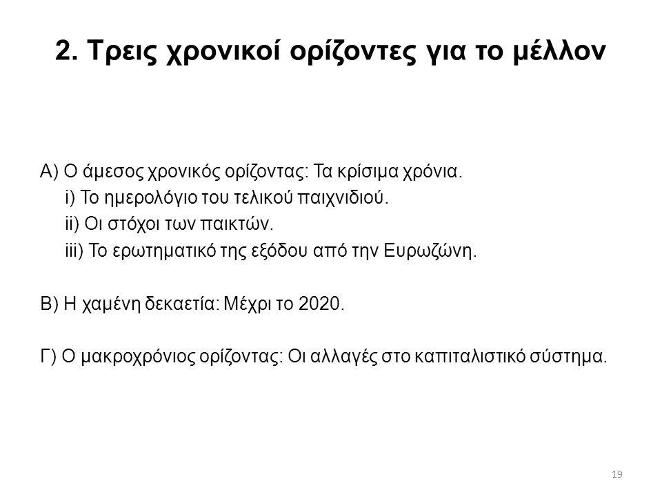 19 2. Τρεις χρονικοί ορίζοντες για το μέλλον Α) Ο άμεσος χρονικός ορίζοντας: Τα κρίσιμα χρόνια. i) Το ημερολόγιο του τελικού παιχνιδιού. ii) Οι στόχοι