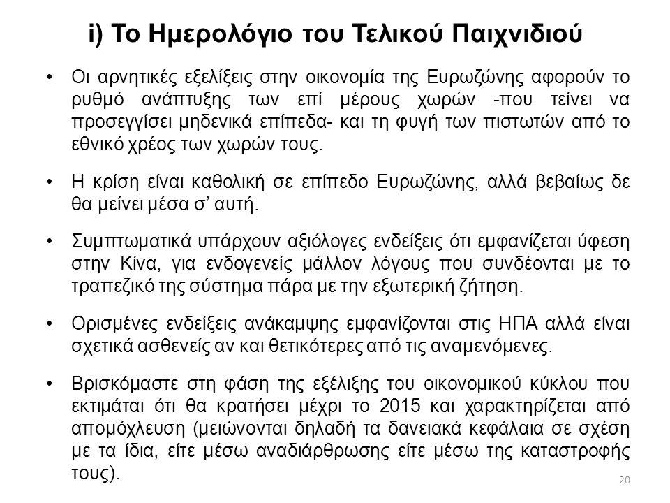 20 i) Το Ημερολόγιο του Τελικού Παιχνιδιού Οι αρνητικές εξελίξεις στην οικονομία της Ευρωζώνης αφορούν το ρυθμό ανάπτυξης των επί μέρους χωρών -που τε