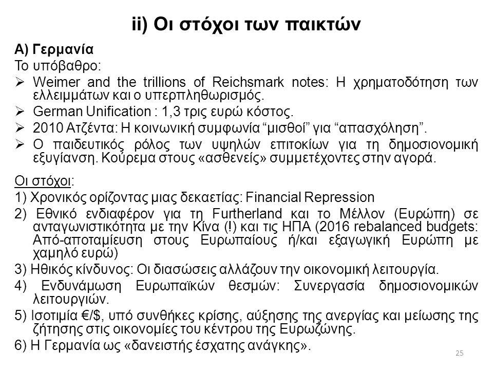 25 ii) Οι στόχοι των παικτών Α) Γερμανία Το υπόβαθρο:  Weimer and the trillions of Reichsmark notes: Η χρηματοδότηση των ελλειμμάτων και ο υπερπληθωρισμός.