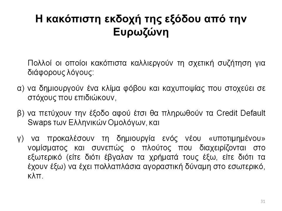 31 Η κακόπιστη εκδοχή της εξόδου από την Ευρωζώνη Πολλοί οι οποίοι κακόπιστα καλλιεργούν τη σχετική συζήτηση για διάφορους λόγους: α) να δημιουργούν έ