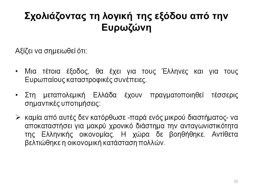 32 Σχολιάζοντας τη λογική της εξόδου από την Ευρωζώνη Αξίζει να σημειωθεί ότι: Μια τέτοια έξοδος, θα έχει για τους Έλληνες και για τους Ευρωπαίους καταστροφικές συνέπειες.
