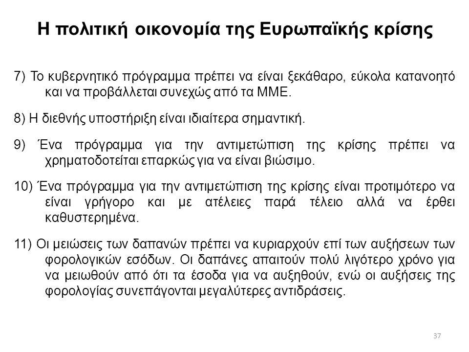 37 Η πολιτική οικονομία της Ευρωπαϊκής κρίσης 7) Το κυβερνητικό πρόγραμμα πρέπει να είναι ξεκάθαρο, εύκολα κατανοητό και να προβάλλεται συνεχώς από τα