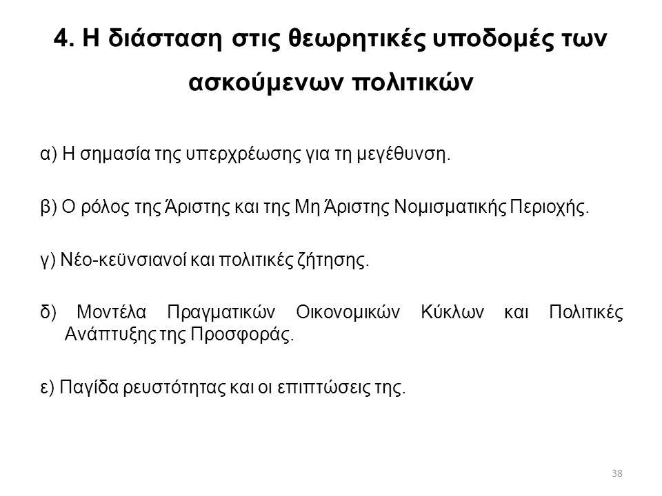 38 4. Η διάσταση στις θεωρητικές υποδομές των ασκούμενων πολιτικών α) Η σημασία της υπερχρέωσης για τη μεγέθυνση. β) Ο ρόλος της Άριστης και της Μη Άρ
