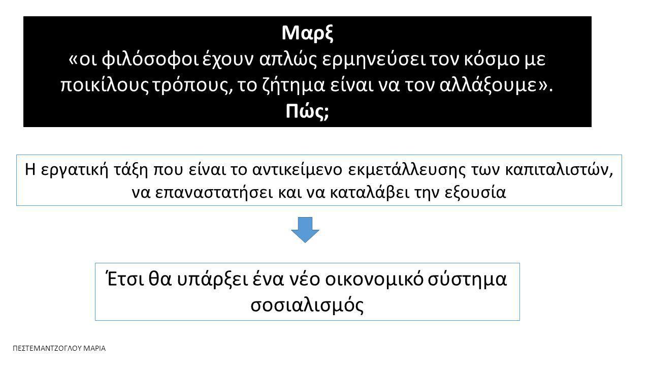 Μαρξ «οι φιλόσοφοι έχουν απλώς ερμηνεύσει τον κόσμο με ποικίλους τρόπους, το ζήτημα είναι να τον αλλάξουμε».
