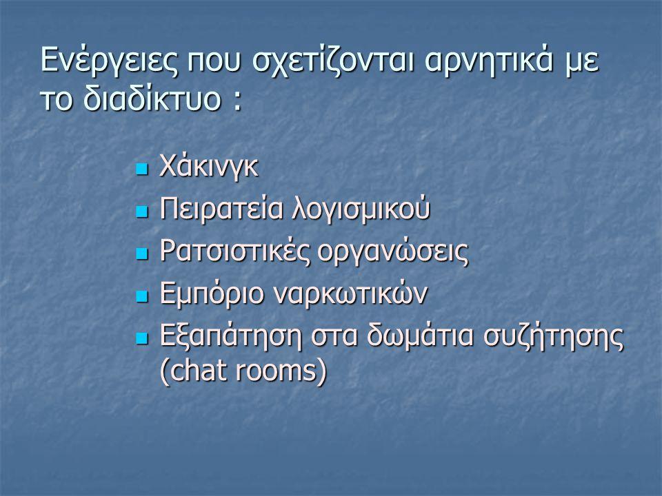 Ενέργειες που σχετίζονται αρνητικά με το διαδίκτυο : Χάκινγκ Χάκινγκ Πειρατεία λογισμικού Πειρατεία λογισμικού Ρατσιστικές οργανώσεις Ρατσιστικές οργανώσεις Εμπόριο ναρκωτικών Εμπόριο ναρκωτικών Εξαπάτηση στα δωμάτια συζήτησης (chat rooms) Εξαπάτηση στα δωμάτια συζήτησης (chat rooms)