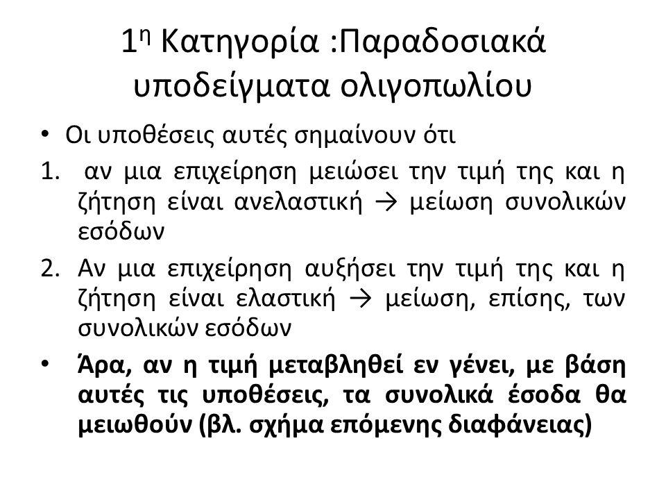 1 η Κατηγορία :Παραδοσιακά υποδείγματα ολιγοπωλίου Οι υποθέσεις αυτές σημαίνουν ότι 1.
