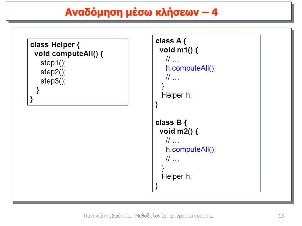 13Παναγιώτης Σφέτσος, Μεθοδολογίες Προγραμματισμού ΙΙ Αναδόμηση μέσω κλήσεων – 4 class Helper { void computeAll() { step1(); step2(); step3(); } class A { void m1() { // … h.computeAll(); // … } Helper h; } class B { void m2() { // … h.computeAll(); // … } Helper h; }