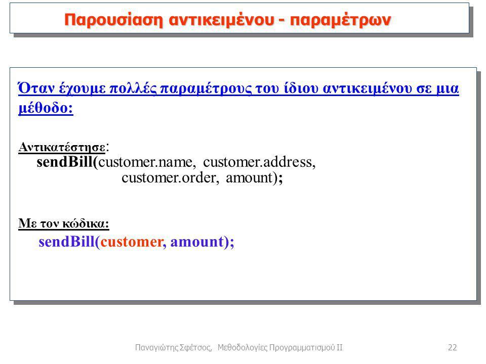 22Παναγιώτης Σφέτσος, Μεθοδολογίες Προγραμματισμού ΙΙ Όταν έχουμε πολλές παραμέτρους του ίδιου αντικειμένου σε μια μέθοδο: Αντικατέστησε : sendBill(customer.name, customer.address, customer.order, amount); Με τον κώδικα: sendBill(customer, amount); Παρουσίαση αντικειμένου - παραμέτρων