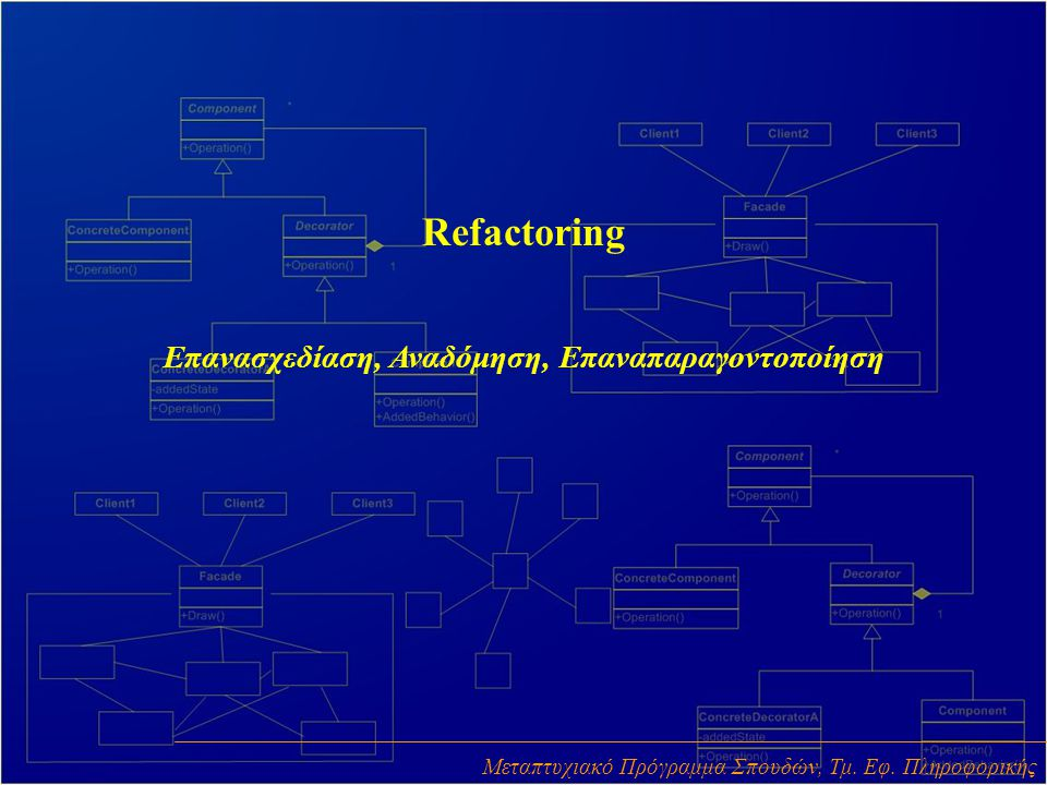 Refactoring Επανασχεδίαση, Αναδόμηση, Επαναπαραγοντοποίηση Μεταπτυχιακό Πρόγραμμα Σπουδών, Τμ.