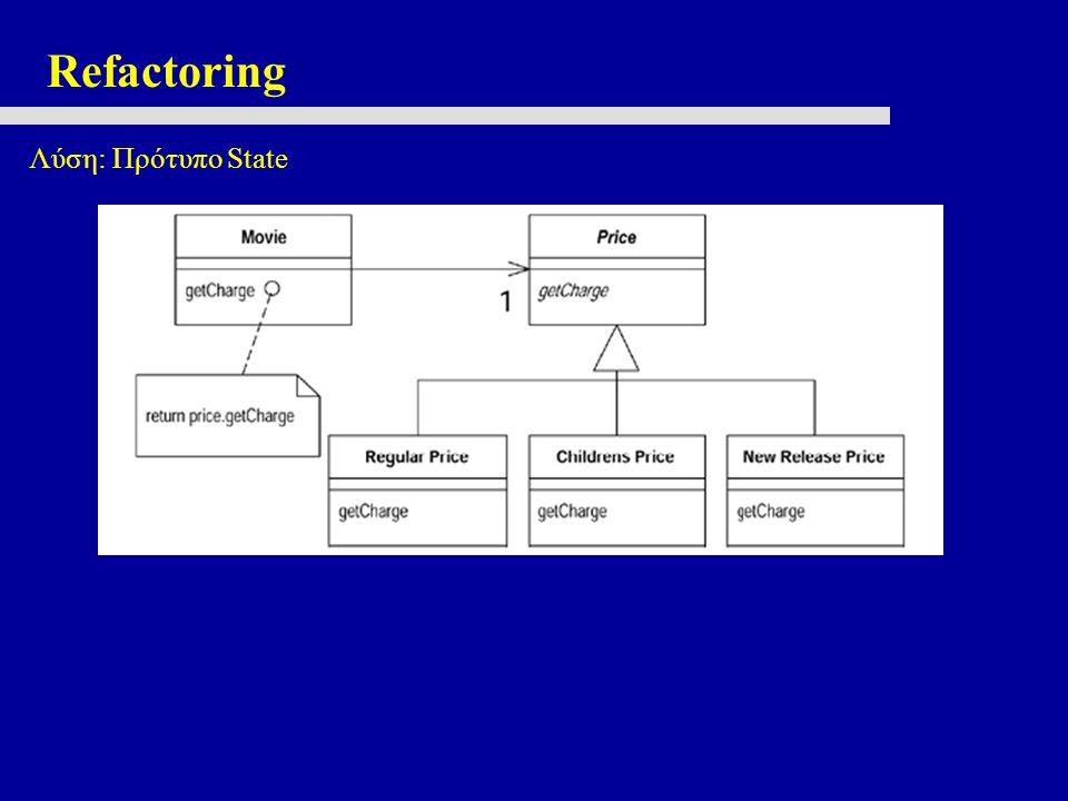 Refactoring Λύση: Πρότυπο State