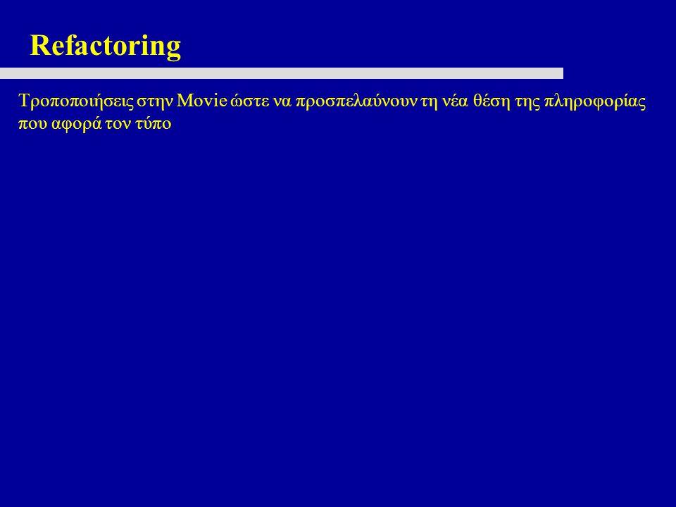 Refactoring Τροποποιήσεις στην Movie ώστε να προσπελαύνουν τη νέα θέση της πληροφορίας που αφορά τον τύπο