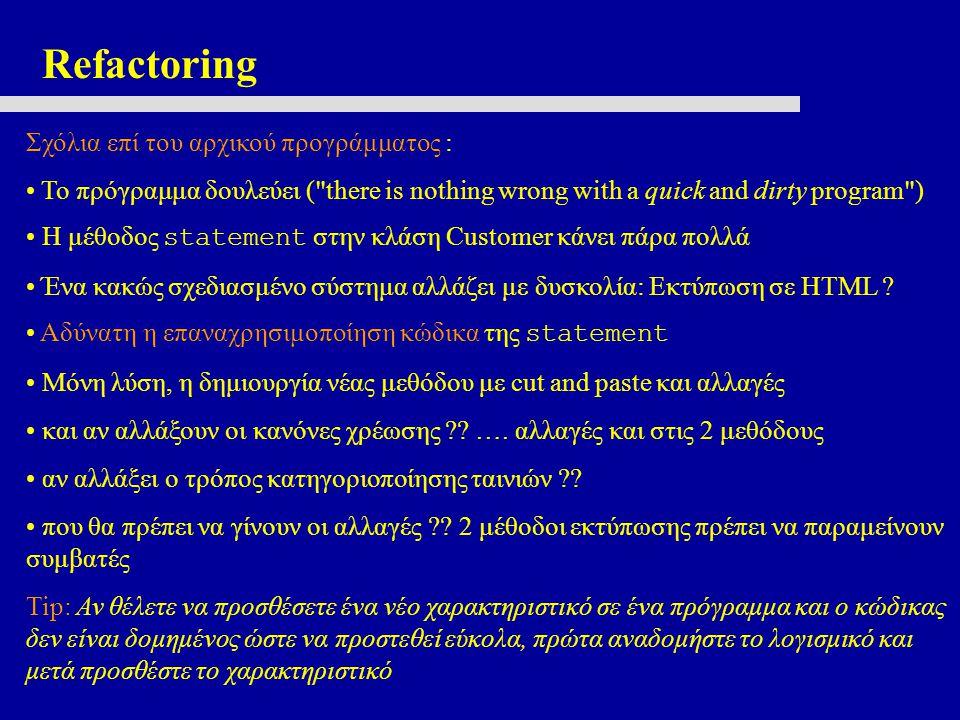 Σχόλια επί του αρχικού προγράμματος : Το πρόγραμμα δουλεύει ( there is nothing wrong with a quick and dirty program ) Η μέθοδος statement στην κλάση Customer κάνει πάρα πολλά Ένα κακώς σχεδιασμένο σύστημα αλλάζει με δυσκολία: Εκτύπωση σε HTML .