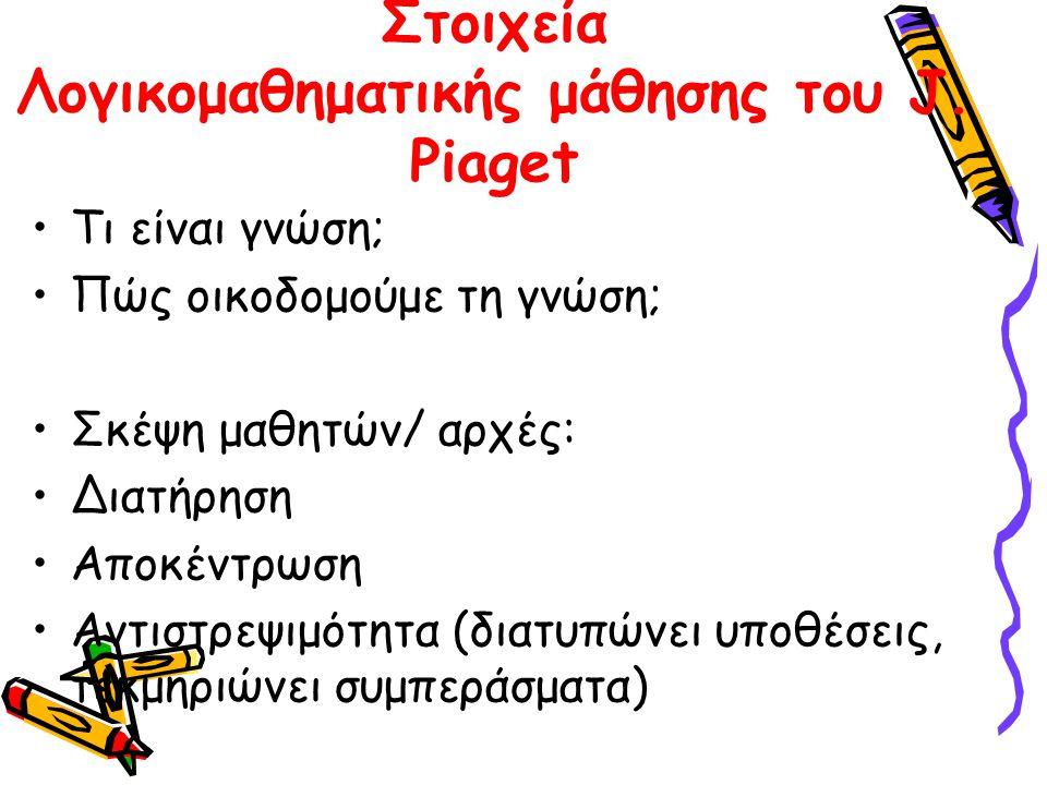 Στοιχεία Λογικομαθηματικής μάθησης του J. Piaget Τι είναι γνώση; Πώς οικοδομούμε τη γνώση; Σκέψη μαθητών/ αρχές: Διατήρηση Αποκέντρωση Αντιστρεψιμότητ