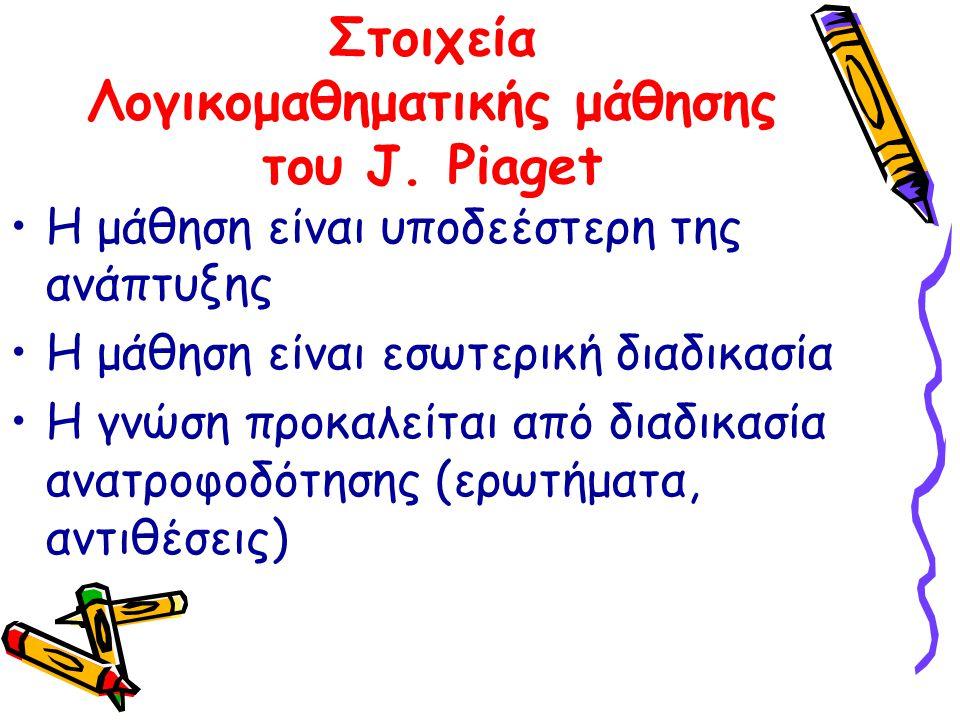 Στοιχεία Λογικομαθηματικής μάθησης του J. Piaget Η μάθηση είναι υποδεέστερη της ανάπτυξης Η μάθηση είναι εσωτερική διαδικασία Η γνώση προκαλείται από