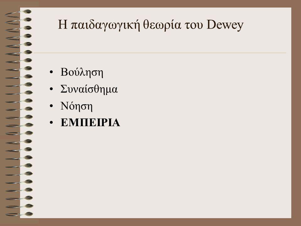 Η παιδαγωγική θεωρία του Dewey Βούληση Συναίσθημα Νόηση ΕΜΠΕΙΡΙΑ