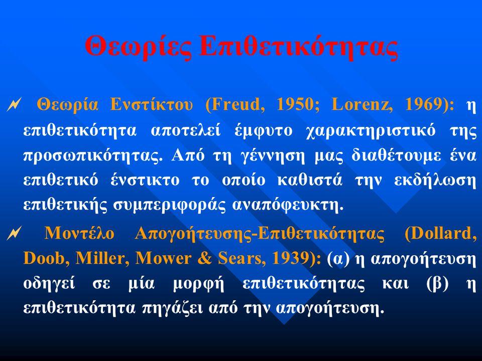 Θεωρίες Επιθετικότητας  Θεωρία Ενστίκτου (Freud, 1950; Lorenz, 1969): η επιθετικότητα αποτελεί έμφυτο χαρακτηριστικό της προσωπικότητας. Από τη γέννη