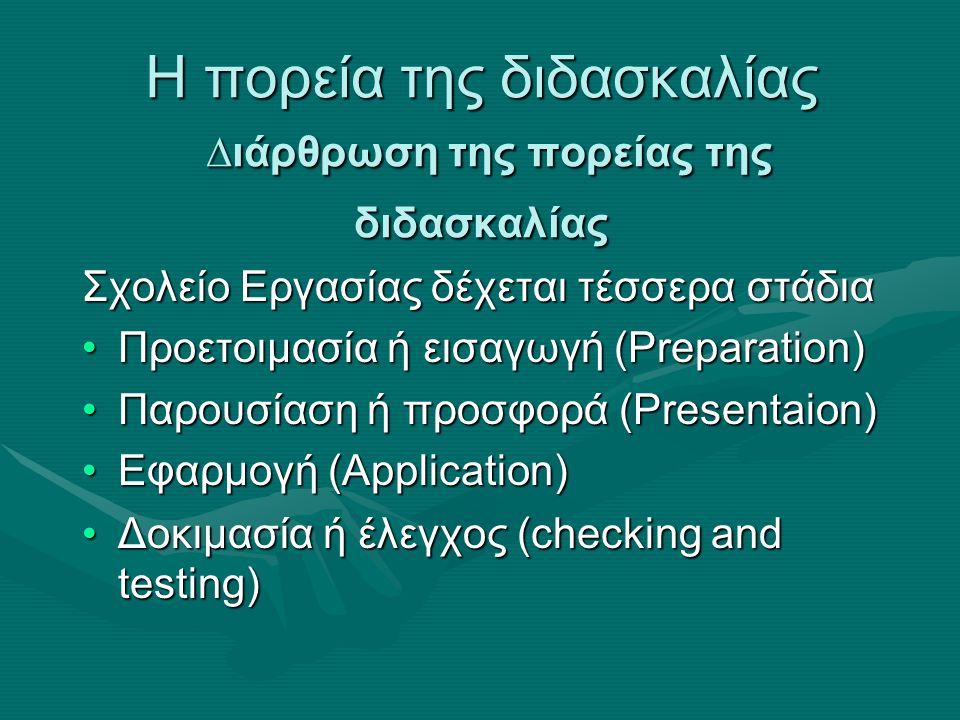 Η πορεία της διδασκαλίας ∆ιάρθρωση της πορείας της διδασκαλίας Σχολείο Εργασίας δέχεται τέσσερα στάδια Προετοιμασία ή εισαγωγή (Preparation)Προετοιμασία ή εισαγωγή (Preparation) Παρουσίαση ή προσφορά (Presentaion)Παρουσίαση ή προσφορά (Presentaion) Εφαρμογή (Application)Εφαρμογή (Application) Δοκιμασία ή έλεγχος (checking and testing)Δοκιμασία ή έλεγχος (checking and testing)
