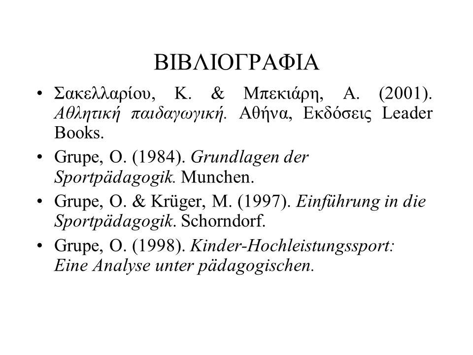 ΒΙΒΛΙΟΓΡΑΦΙΑ Σακελλαρίου, Κ. & Μπεκιάρη, Α. (2001).