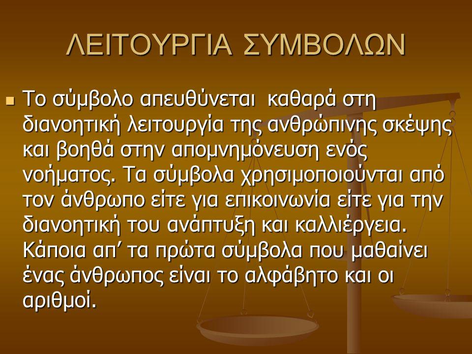 ΛΕΙΤΟΥΡΓΙΑ ΣΥΜΒΟΛΩΝ Το σύμβολο απευθύνεται καθαρά στη διανοητική λειτουργία της ανθρώπινης σκέψης και βοηθά στην απομνημόνευση ενός νοήματος. Τα σύμβο