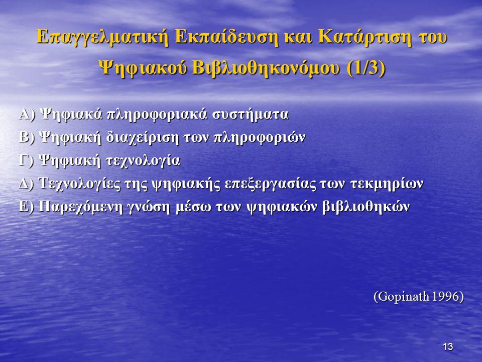 13 Επαγγελματική Εκπαίδευση και Κατάρτιση του Ψηφιακού Βιβλιοθηκονόμου (1/3) Α) Ψηφιακά πληροφοριακά συστήματα Β) Ψηφιακή διαχείριση των πληροφοριών Γ) Ψηφιακή τεχνολογία Δ) Τεχνολογίες της ψηφιακής επεξεργασίας των τεκμηρίων Ε) Παρεχόμενη γνώση μέσω των ψηφιακών βιβλιοθηκών (Gopinath 1996)