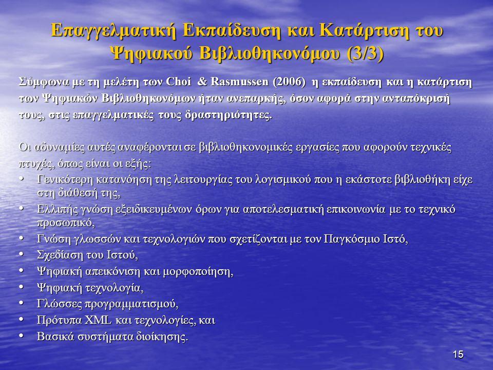 15 Επαγγελματική Εκπαίδευση και Κατάρτιση του Ψηφιακού Βιβλιοθηκονόμου (3/3) Σύμφωνα με τη μελέτη των Choi & Rasmussen (2006) η εκπαίδευση και η κατάρτιση των Ψηφιακών Βιβλιοθηκονόμων ήταν ανεπαρκής, όσον αφορά στην ανταπόκρισή τους, στις επαγγελματικές τους δραστηριότητες.