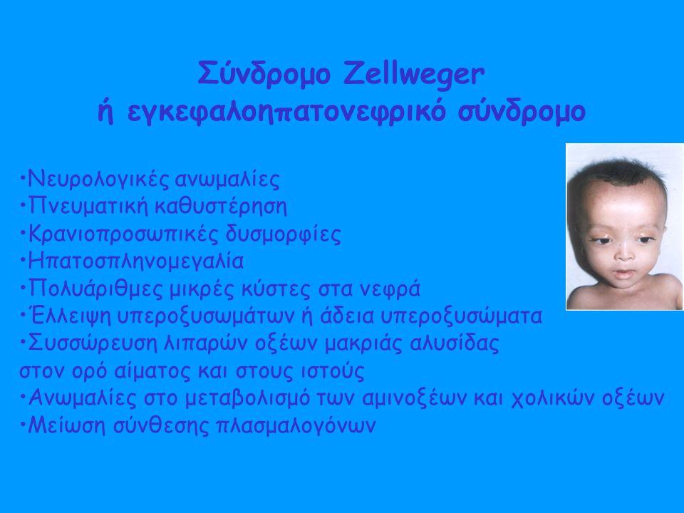 Σύνδρομο Zellweger ή εγκεφαλοηπατονεφρικό σύνδρομο Νευρολογικές ανωμαλίες Πνευματική καθυστέρηση Κρανιοπροσωπικές δυσμορφίες Ηπατοσπληνομεγαλία Πολυάριθμες μικρές κύστες στα νεφρά Έλλειψη υπεροξυσωμάτων ή άδεια υπεροξυσώματα Συσσώρευση λιπαρών οξέων μακριάς αλυσίδας στον ορό αίματος και στους ιστούς Ανωμαλίες στο μεταβολισμό των αμινοξέων και χολικών οξέων Μείωση σύνθεσης πλασμαλογόνων