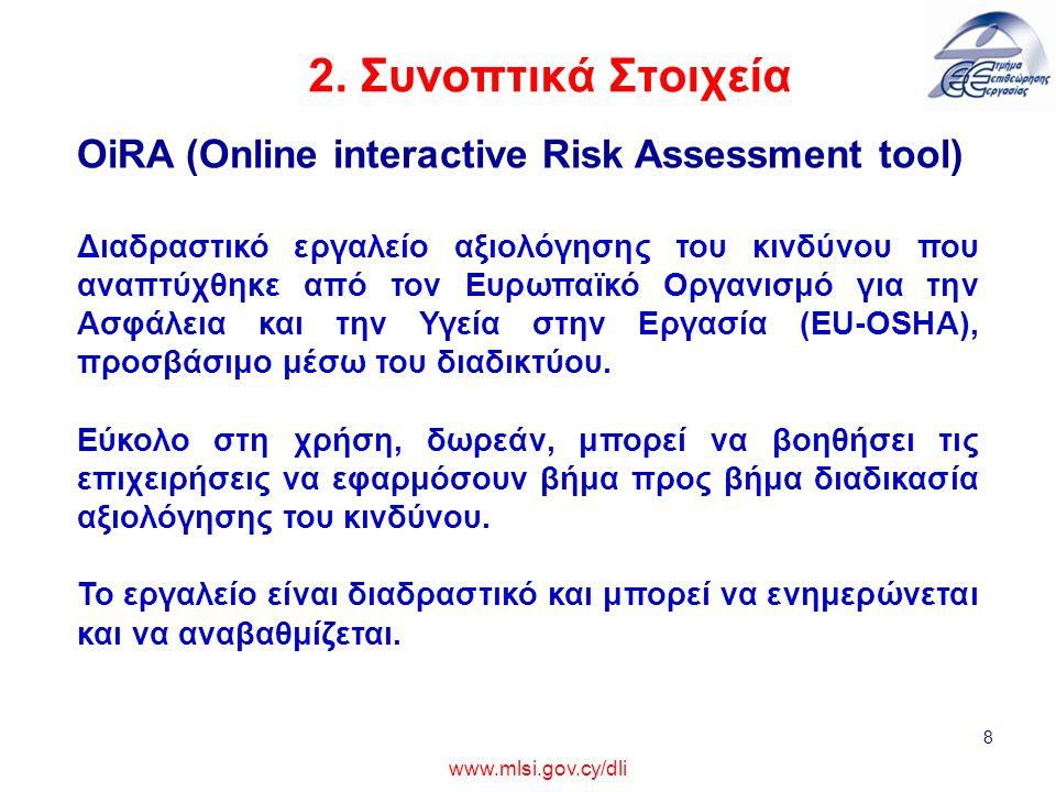 2. Συνοπτικά Στοιχεία 8 www.mlsi.gov.cy/dli OiRA (Online interactive Risk Assessment tool) Διαδραστικό εργαλείο αξιολόγησης του κινδύνου που αναπτύχθη
