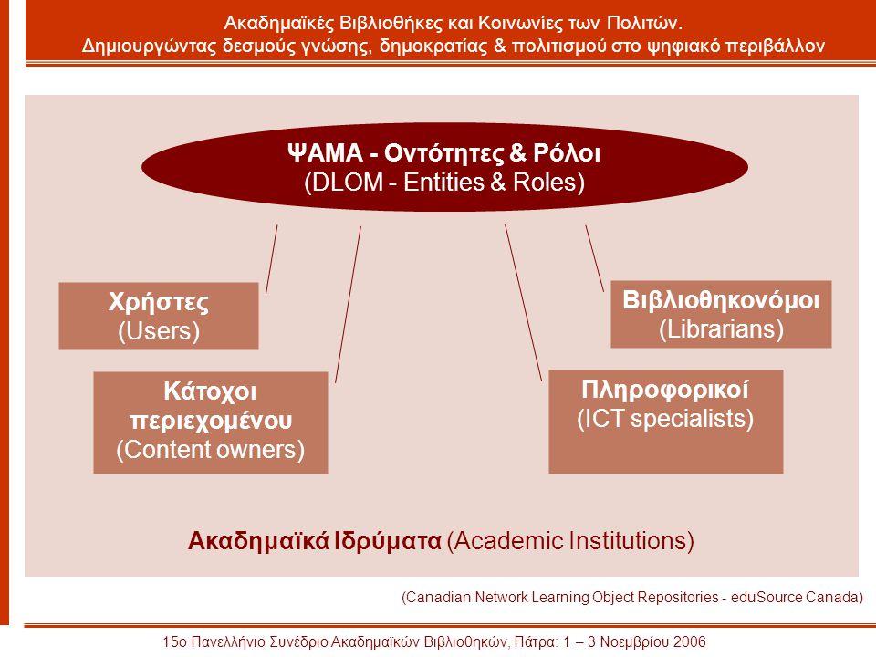 Ακαδημαϊκά Ιδρύματα (Academic Institutions) 15ο Πανελλήνιο Συνέδριο Ακαδημαϊκών Βιβλιοθηκών, Πάτρα: 1 – 3 Νοεμβρίου 2006 Ακαδημαϊκές Βιβλιοθήκες και Κοινωνίες των Πολιτών.
